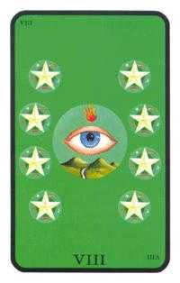 Eight of Coins Tarot Card - Tarot of the Witches Tarot Deck