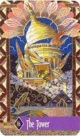 The Falling Tower Tarot Card - Zerner Farber Tarot Deck