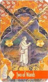 Two of Wands Tarot Card - Zerner Farber Tarot Deck