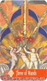 Three of Batons Tarot Card - Zerner Farber Tarot Deck