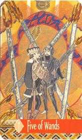 Five of Batons Tarot Card - Zerner Farber Tarot Deck