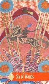 Six of Rods Tarot Card - Zerner Farber Tarot Deck