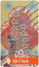 Eight of Batons Tarot Card - Zerner Farber Tarot Deck