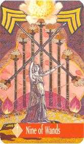 Nine of Batons Tarot Card - Zerner Farber Tarot Deck