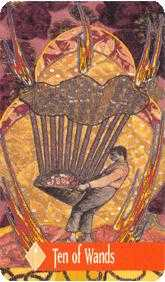 Ten of Batons Tarot Card - Zerner Farber Tarot Deck
