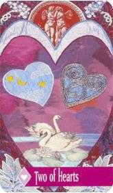 Two of Hearts Tarot Card - Zerner Farber Tarot Deck