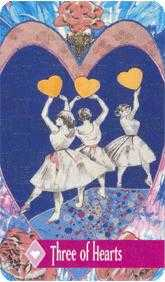 Three of Hearts Tarot Card - Zerner Farber Tarot Deck