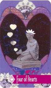 Four of Hearts Tarot Card - Zerner Farber Tarot Deck