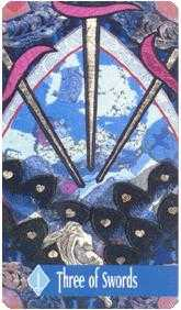 Three of Bats Tarot Card - Zerner Farber Tarot Deck