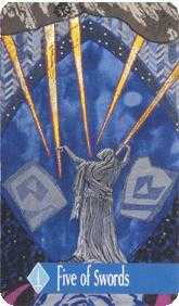 Five of Bats Tarot Card - Zerner Farber Tarot Deck
