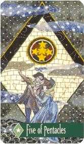 Five of Pentacles Tarot Card - Zerner Farber Tarot Deck