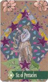 Six of Coins Tarot Card - Zerner Farber Tarot Deck
