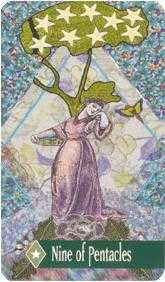 Nine of Pentacles Tarot Card - Zerner Farber Tarot Deck