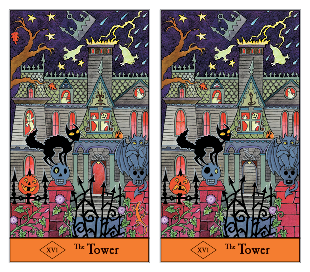 Can you find all 16 differences between these two Tower Tarot cards?